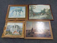 An oil on canvas, Bavarian castle in an ornate gilt frame,