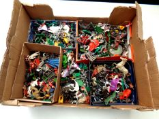 A box of a large quantity of mid 20th century plastic soldiers to include Britains Swap It,