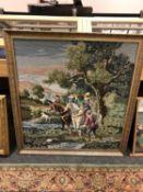 A gilt framed tapestry depicting a hunt,