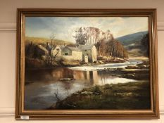 A Marshall : A river by stone buildings, oil on board,