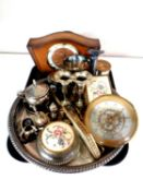 A tray of mid 20th century Bentima mantel clock, plated wares,