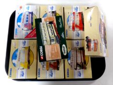 8 Corgi die cast trams and buses (boxed)