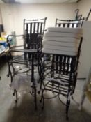 A set of six metal stacking garden armchairs with cushions