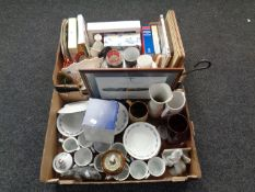 Two boxes containing miscellany to include Aynsley bowl, assorted drinking glasses,