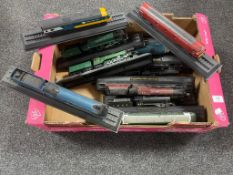 A box containing 15 die cast model trains on stands to include Flying Scotsman, A4 Mallard,