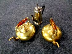Two copper kettles by James Clews together with a plated teapot