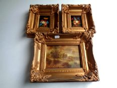 A pair of miniature oil on board still life studies in ornate gilt frame,