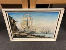 Robert Turnbull : Tall ships on a quay, oil on board, 74 cm x 49 cm, signed, framed.