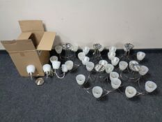 Five contemporary five-way ceiling lights with glass shades together with a box containing seven