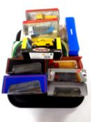 A tray containing 11 boxed die cast vehicles to include exclusive first editions, Corgi buses,