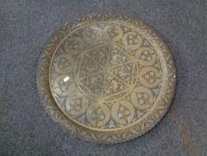 An eastern brass tray