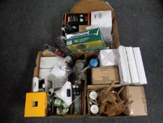 Three boxes of miscellany to include umbrellas, mugs, fan heater, garden ornaments, pond guard,