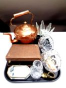 A tray of costume jewellery, assorted glass ware, antique copper kettle, cased cake forks,