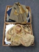 Two boxes of assorted clothing to include Barbour waistcoat, material,