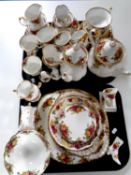 Fifty one pieces of Royal Albert Old Country Roses tea,