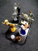 A tray containing Coalport miniature figure, Joanne, a Diana Vreeland figure Elegance De Paris,