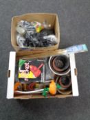A box containing miscellaneous including plant pots, paint roller system,