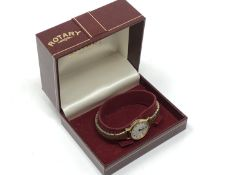 A lady's gold plated Rotary wristwatch, boxed.
