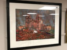 Jan Kirkland : Cusco Cathedral Peru, watercolour,