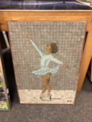 Continental school : A tiled mosaic depicting a ballet dancer,