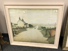 After L S Lowry : A country road, colour print,