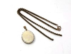 A 9ct gold opal pendant and chain