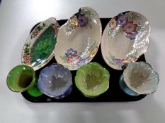 A tray containing seven pieces of Maling lustre china to include grapefruit dishes,