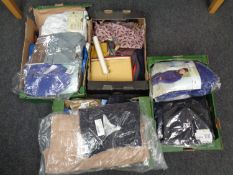 Four boxes containing clothing to include gent's shirts, scarves,