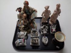 A tray containing Carlton ware Chinoiserie vase,