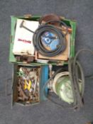 A toolbox and a further box containing assorted hand tools, spray gun,