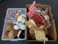 Two boxes containing a large quantity of soft toys to include McDonald's Happy Meal toys