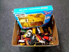 A box containing a Matchbox emergency gift set (boxed) together with a quantity of assorted die
