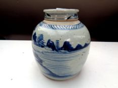 A 20th century Chinese blue and white glazed ginger jar,