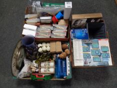 Three boxes containing miscellaneous to include photograph albums, past times jigsaw, candles,
