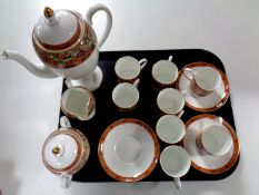 A tray containing a fifteen piece Wedgwood Augustus coffee service (as found)