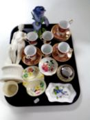 A tray containing six china craft coffee cans and saucers, Parian figure, Torquay ware dish,