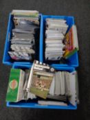 Three boxes containing football programmes relating to Newcastle United to include late 20th and