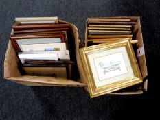 Two boxes of a quantity of framed and unframed prints