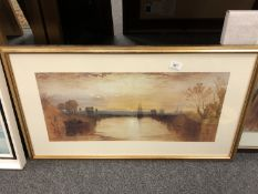 After J M W Turner : Chichester Canal, colour print, 65 x 30 cm,