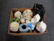 A box containing assorted antique and later ceramics to include transfer printed vase,