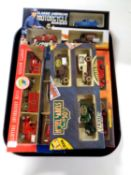 A tray containing five die cast car sets to include London's Fire Engine,