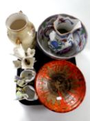 A tray containing assorted ceramics to include a Mason's jug, Crown Devon comport,