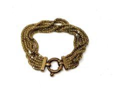 A gold plated silver bracelet