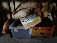 A box and a crate of miscellany to include picture frames, cushions, flask, flexi light, lap tray,