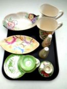 A tray of nine pieces of assorted Maling china