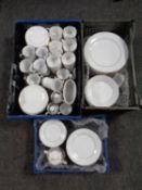 Three crates of assorted white dinner ware to include Thomas,