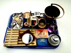 A tray of miscellany to include crested spoons, cased butter knives, money box, decimal coin set,