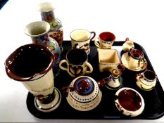 A tray of eleven pieces of Torquay ware together with a pair of oriental vases