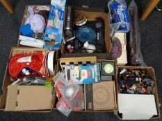Five boxes of miscellany to include military helmet, costume jewellery, disc drive,