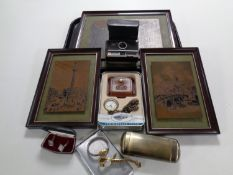 Three framed panels together with a cigarette case, lady's wristwatches, silver cuff links,